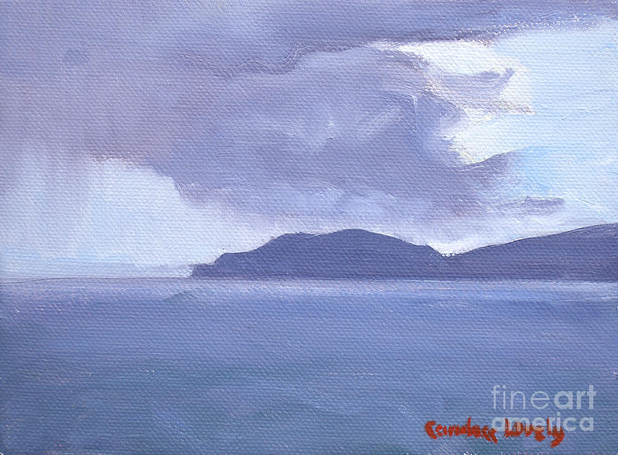 Water Island Painting - Rain Across The Channel by Candace Lovely