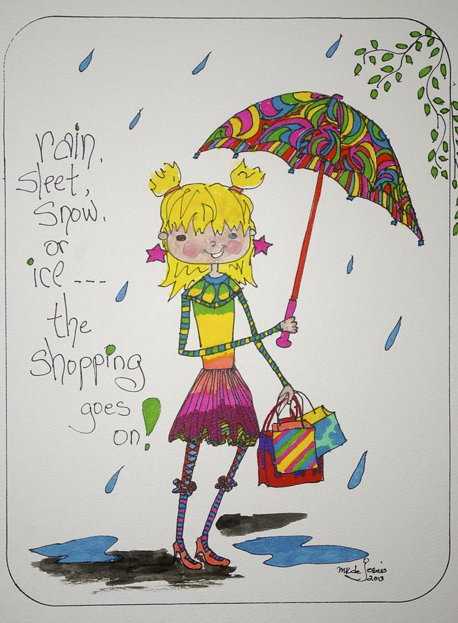 Rain And Shopping Drawing by Mary Kay De Jesus
