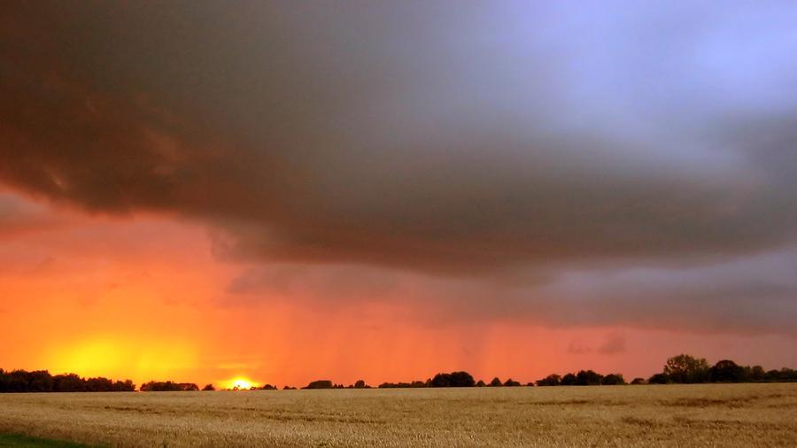 Sunset Photograph - Rain Burst by Dave Woodbridge