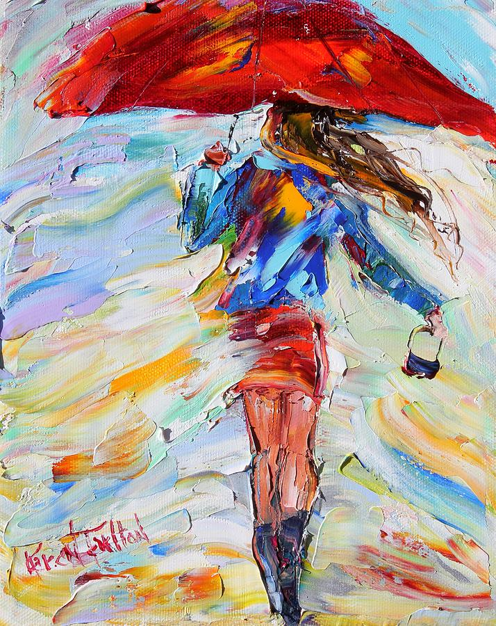 Rain Dance with Red Umbrella Painting by Karen Tarlton