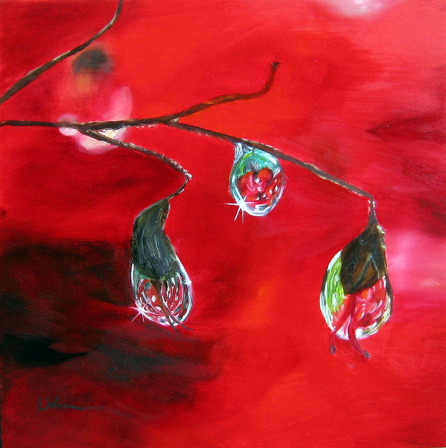 Red Painting - Rain Drops Study by LaVonne Hand