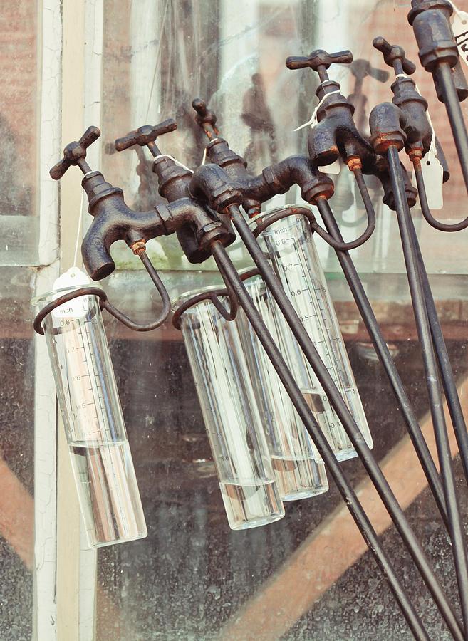 Antique Photograph - Rain Guages by Tom Gowanlock