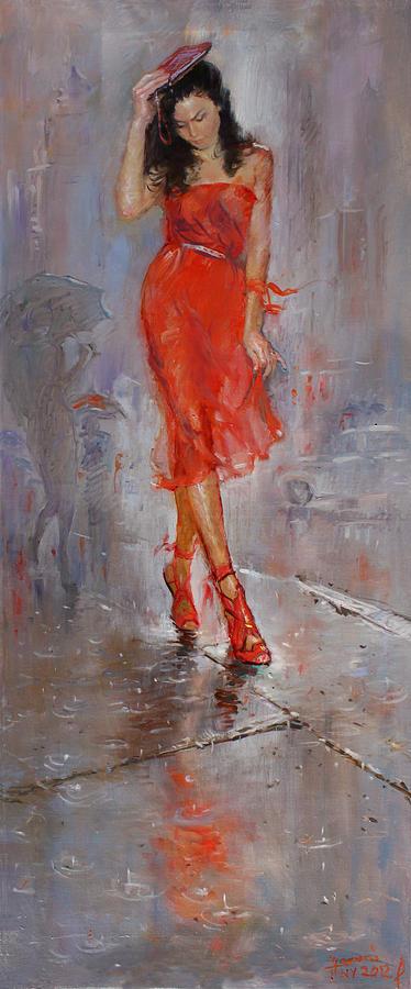 Rain Painting - Rain in Manhattan by Ylli Haruni