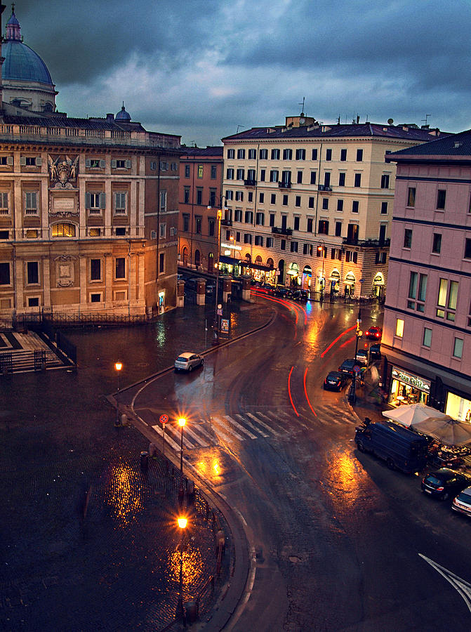 Rome Photograph - Rain Night In Rome by Patrick Horgan