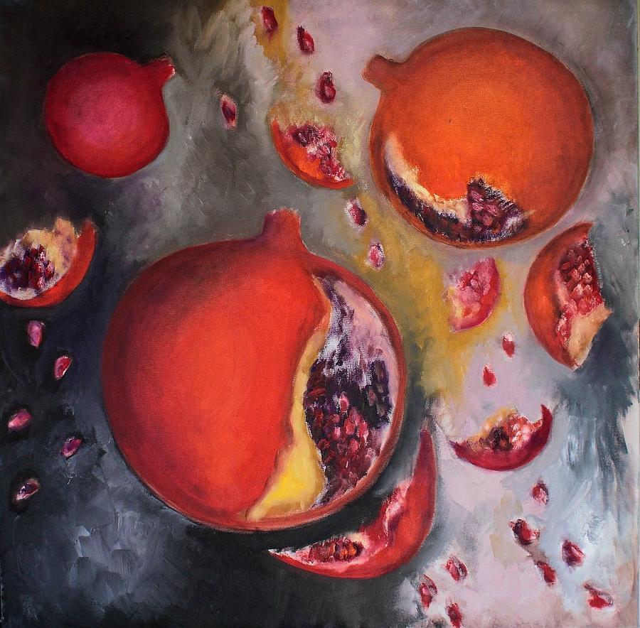 Pomegranates Painting - Rain Of Pomegaranates by Cornelia Margan