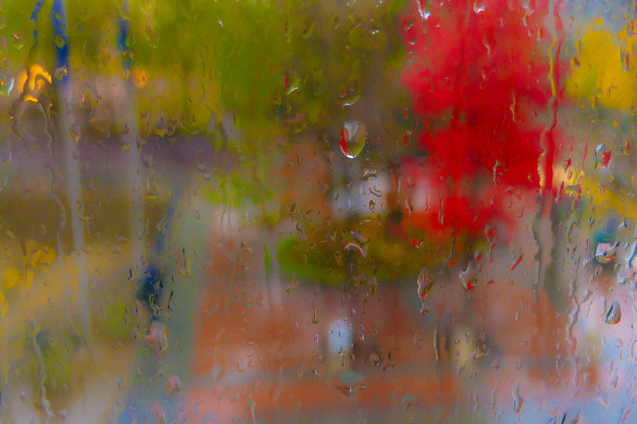 Backgrounds Photograph - Rain On Glass by Susan Stone