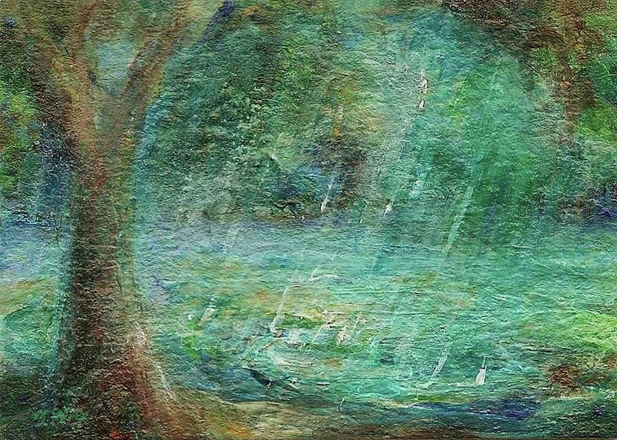 Landscape Painting Painting - Rain On The Pond by Mary Wolf