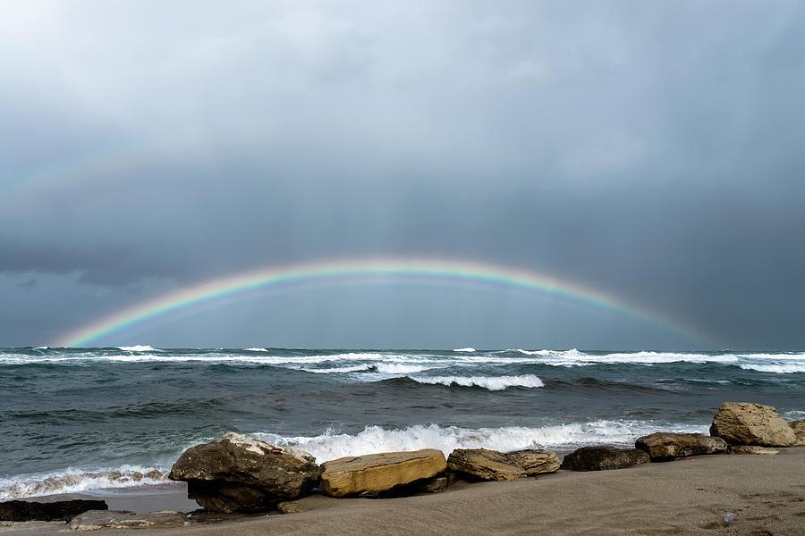 Sea Photograph - Rain over the sea by Michael Goyberg