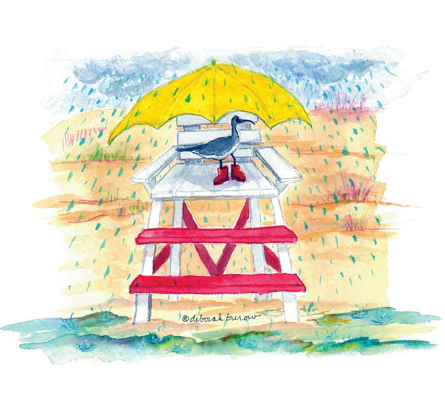 Seagull Painting - Rain Rain Go Away by Deborah Burow
