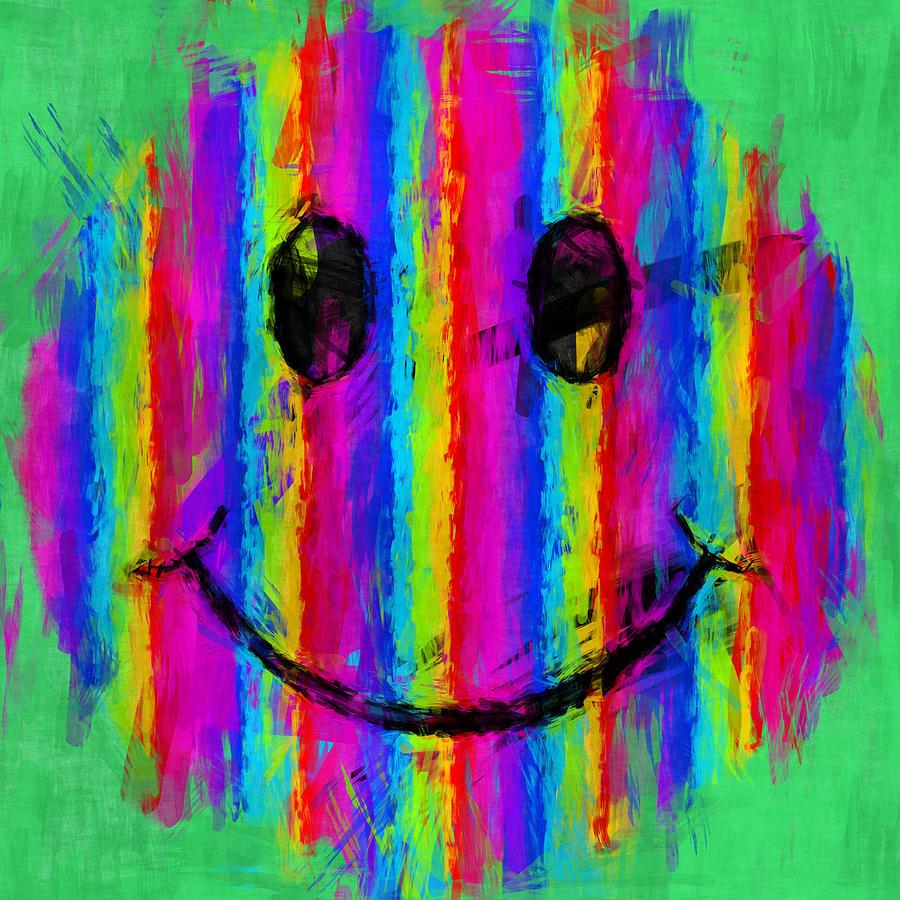 Smiley Digital Art - Rainbow Abstract Smiley Face by David G Paul
