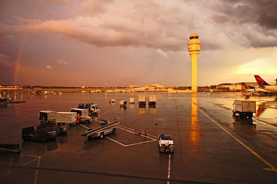 Rainbow Photograph - Rainbow And Airport  by Chikako Hashimoto Lichnowsky