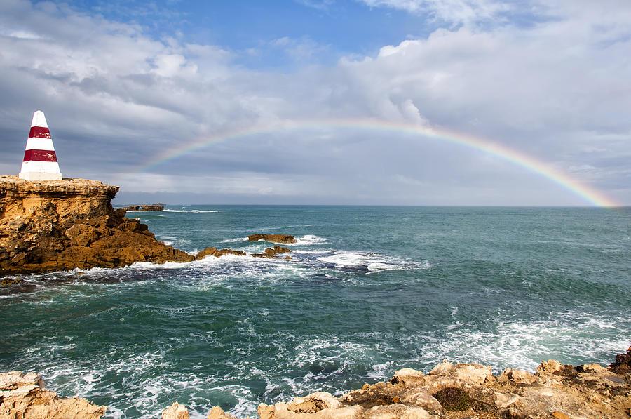 Arc Photograph - Rainbow Over Cape Dombey Obelisk by Gej Jones
