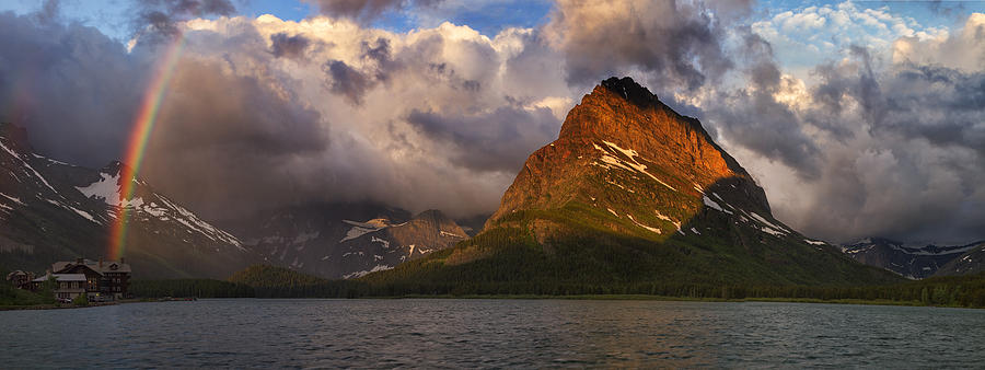 Many Glacier Hotel Photograph - Rainbow At Sunrise - Panorama by Mark Kiver