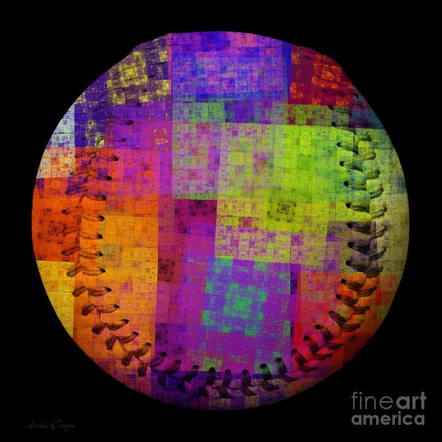 Baseball Digital Art - Rainbow Bliss Baseball Square by Andee Design