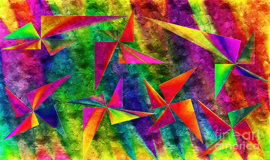 Abstract Digital Art - Rainbow Bliss - Pin Wheels - Painterly - Abstract - H by Andee Design