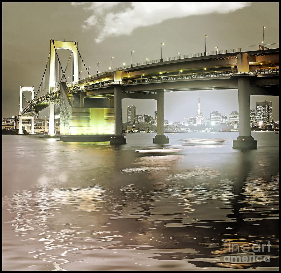 Asia Photograph - Rainbow Bridge and Tokyo Bay at night by Stefano Senise