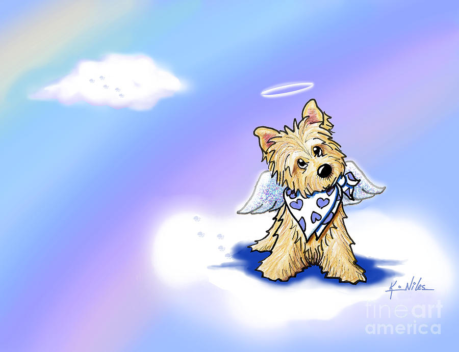 Cairn Terrier Digital Art - Rainbow Bridge Cairn Angel by Kim Niles