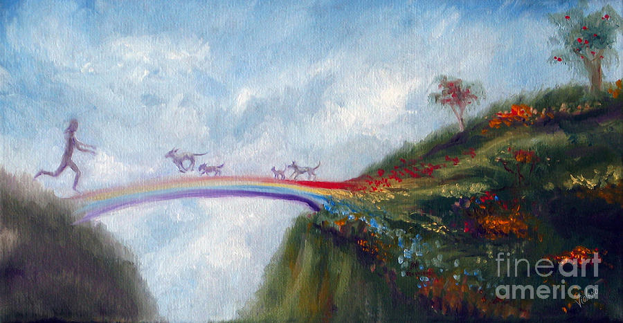 Dog Painting - Rainbow Bridge by Stella Violano