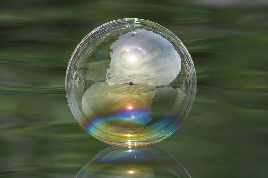 Bubble Photograph - Sun Halo Rainbow Bubble by Cathie Douglas