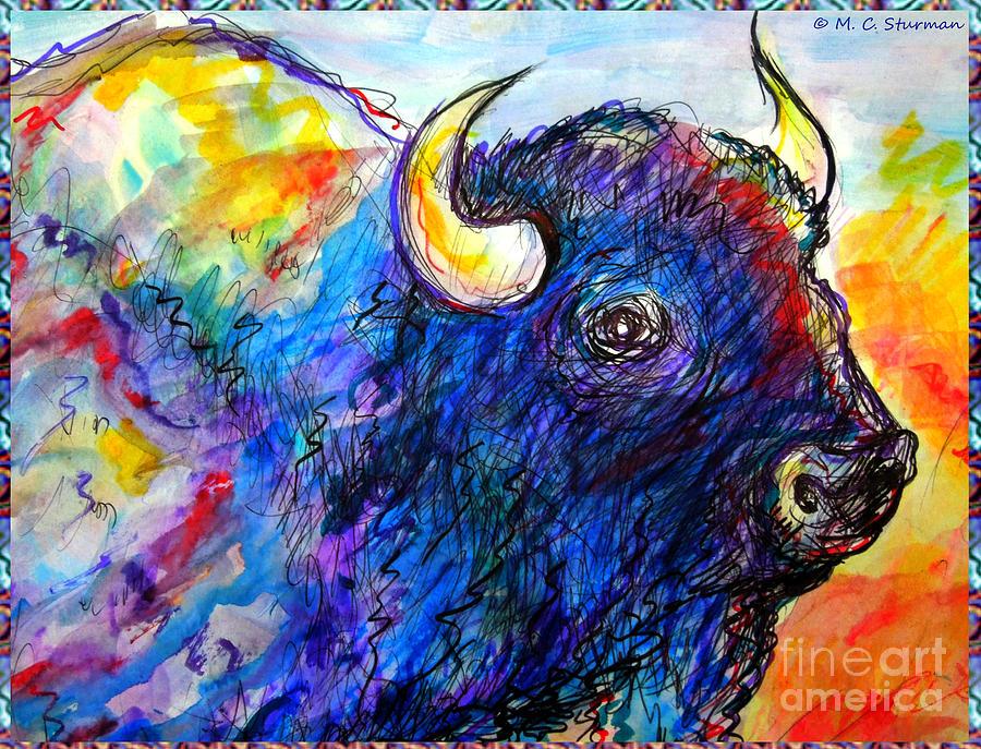 America Painting - Rainbow Buffalo by M C Sturman
