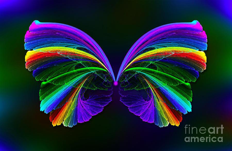 Rainbow Butterfly Digital Art By Klara Acel