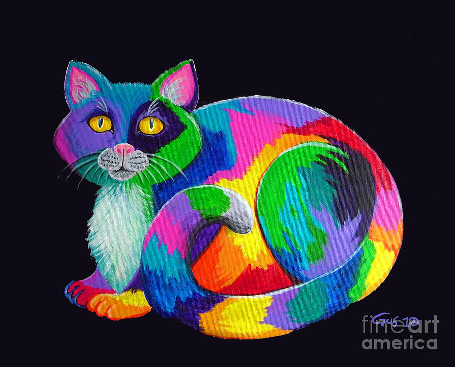 Kitty Painting - Rainbow Calico by Nick Gustafson