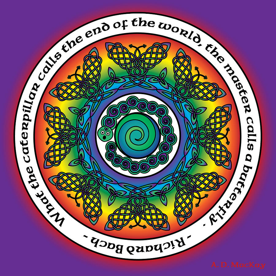 Rainbow Digital Art - Rainbow Celtic Butterfly Mandala by Celtic Artist Angela Dawn MacKay