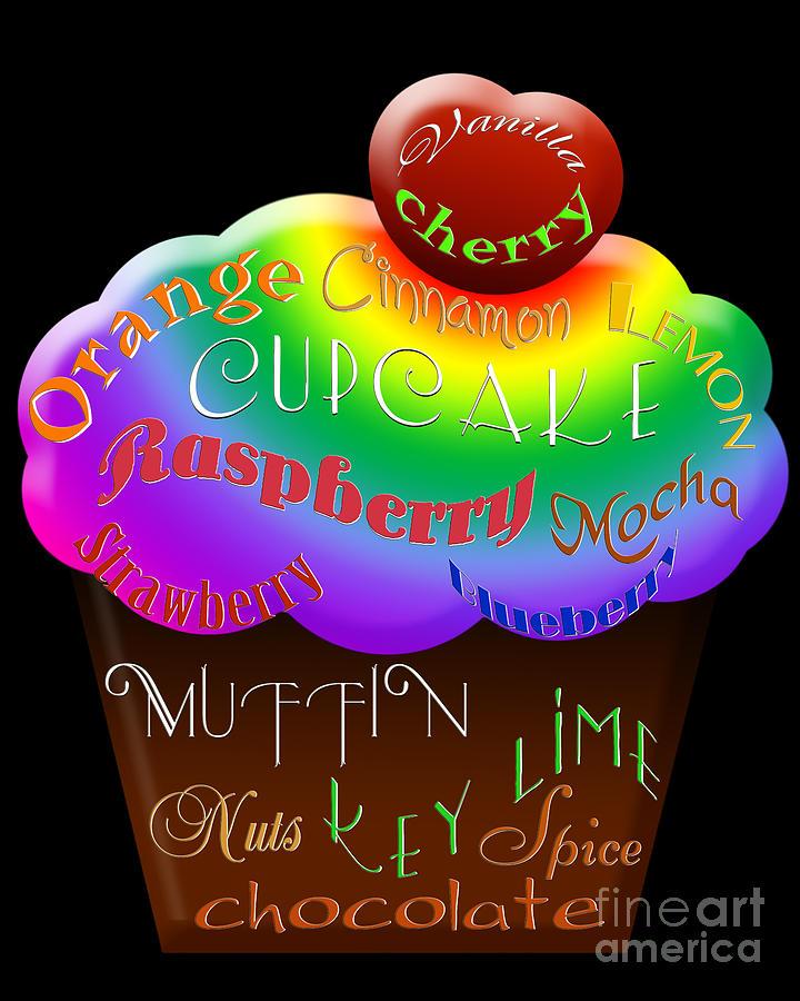 Food Digital Art - Rainbow Cupcake Typography by Andee Design
