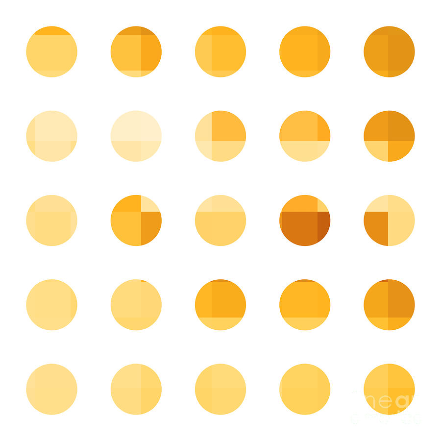 Abstract Painting - Rainbow Dots Orange by Pixel Chimp