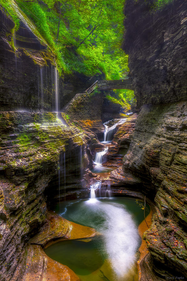 Waterfall Series Photograph - Rainbow Falls Of Watkins Glen by Mark Papke