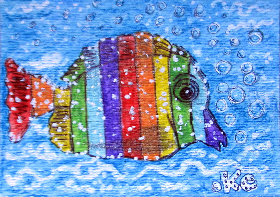 Fish Painting - Rainbow Fish by Kathy Marrs Chandler