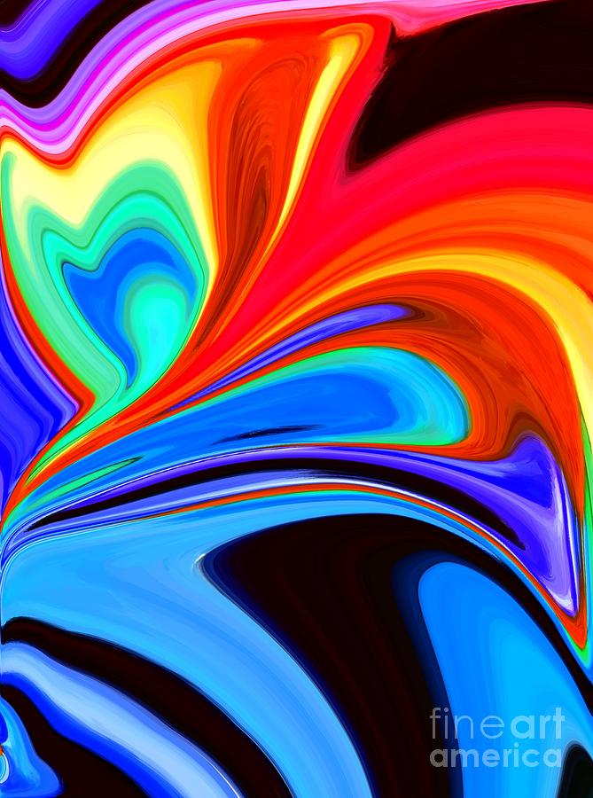 Abstract Digital Art - Rainbow Flare by Chris Butler