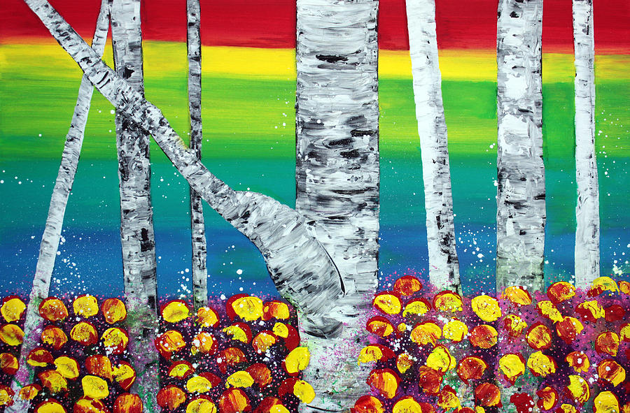 Forest Painting - Rainbow Forest by Laura Barbosa