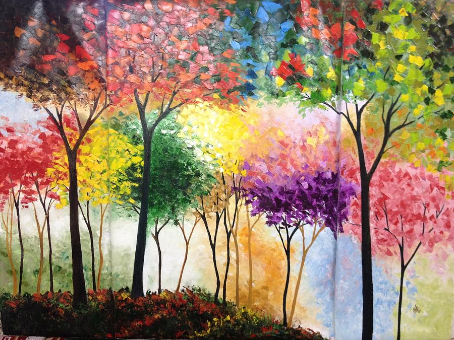 Landscape Painting - Rainbow Forest by Shilpi Singh