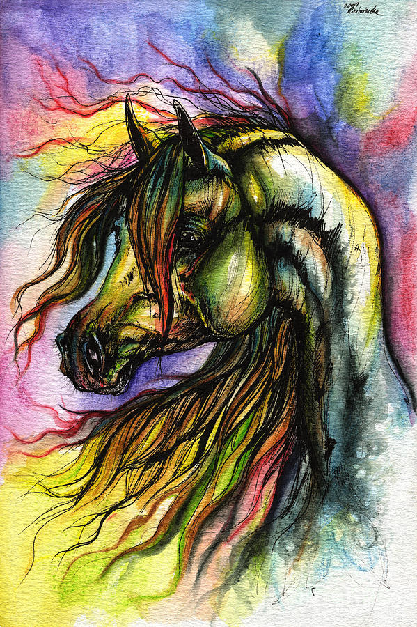 Horse Painting - Rainbow Horse 2 by Angel  Tarantella