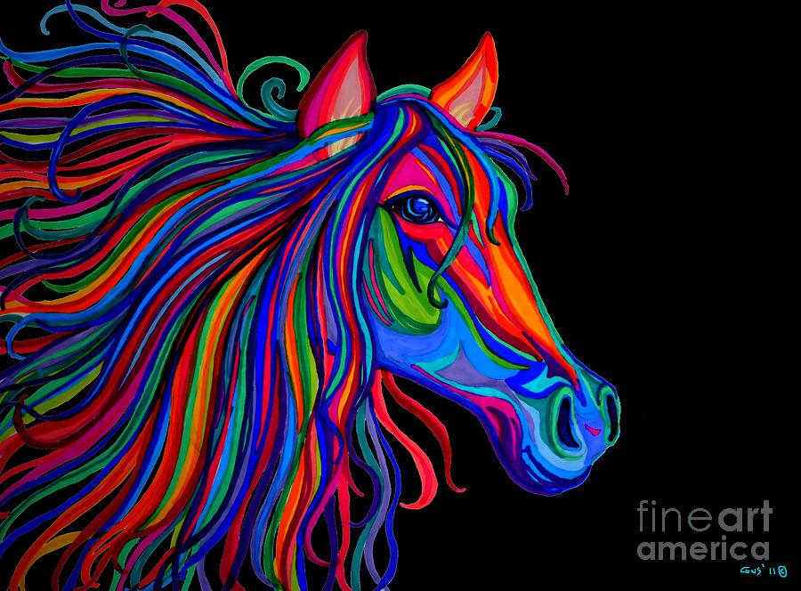 Horse Drawing - Rainbow Horse Head by Nick Gustafson