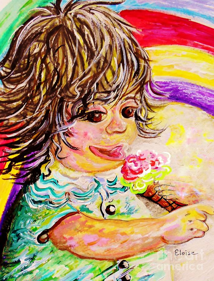 Girl Painting - Rainbow Ice Cream by Eloise Schneider