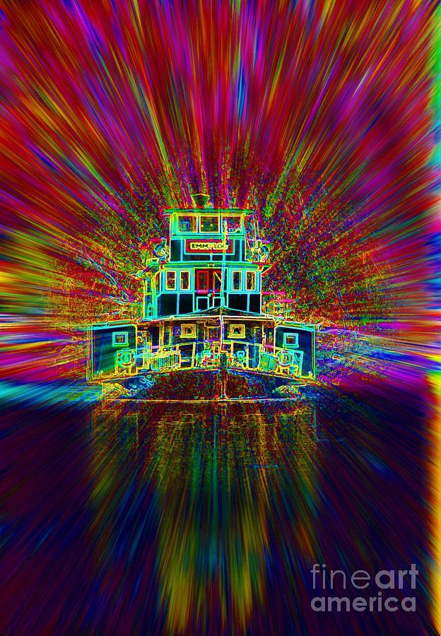 Paddle Steamer Digital Art - Rainbow in My Wake by Lorles Lifestyles