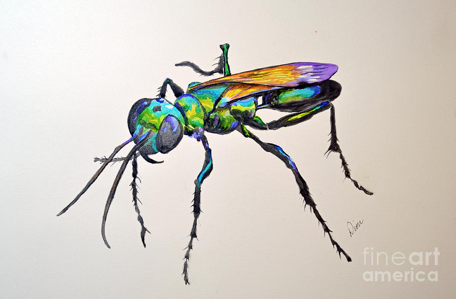 Wasp Painting - Rainbow Insect by Dion Dior