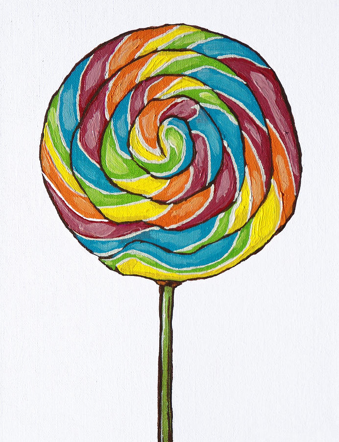 Rainbow Lollipop on white by Sandy Tracey