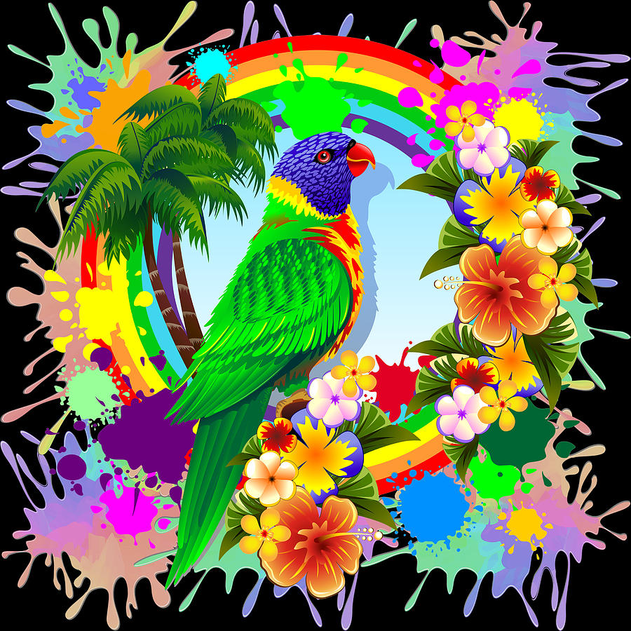 Rainbow Lorikeet Tropical Colors Explosion Digital Art by ...