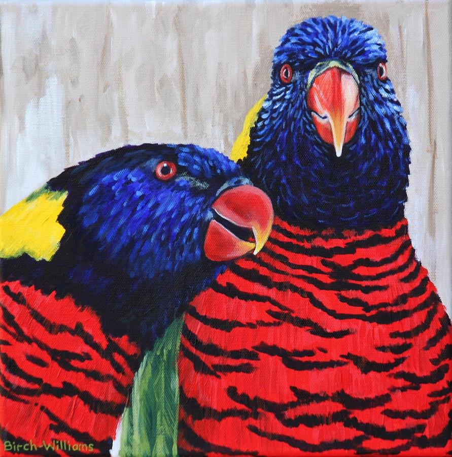 Rainbow Lorikeet Painting - Rainbow Lorikeets by Penny Birch-Williams