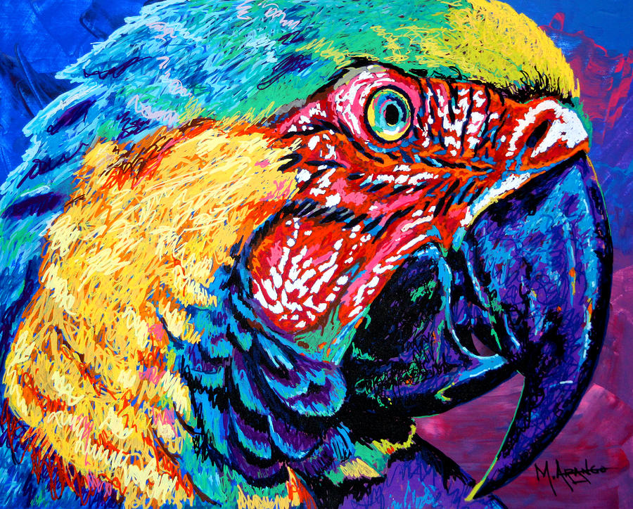 Bird Painting - Rainbow Macaw by Maria Arango