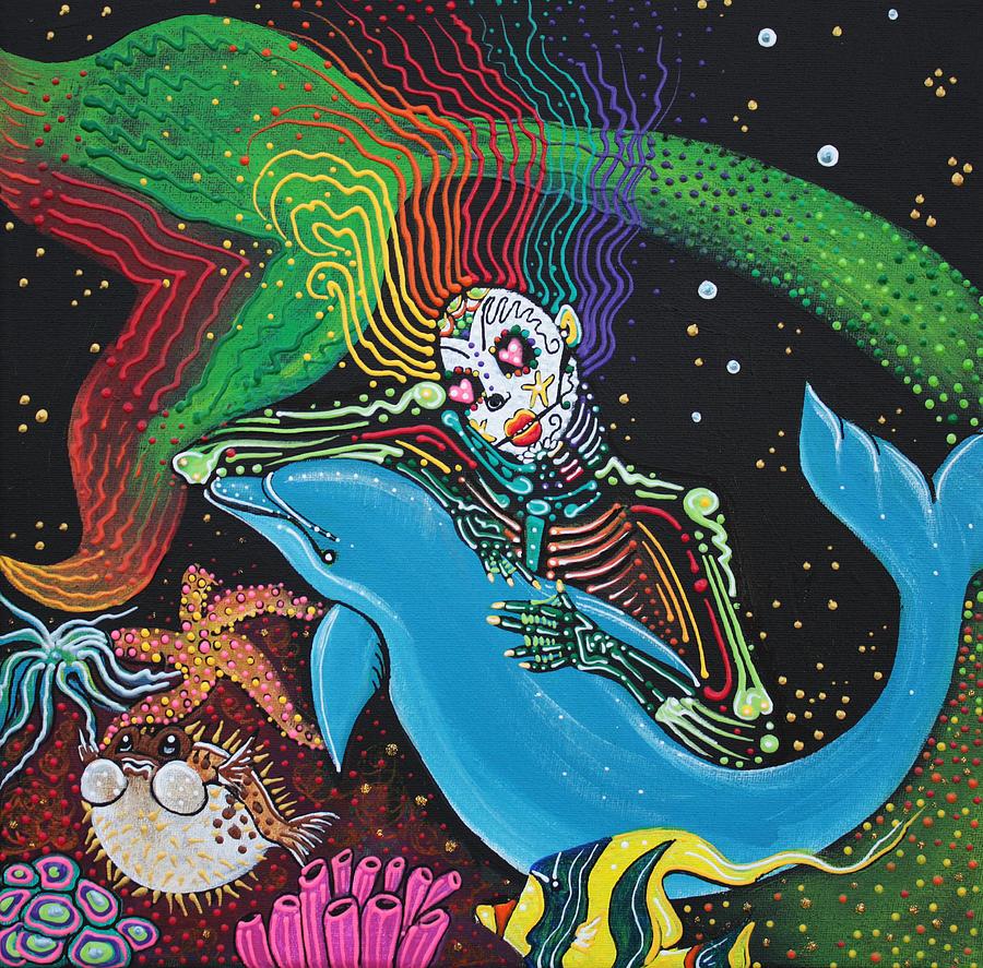 Mermaid Painting - Rainbow Mermaid by Laura Barbosa