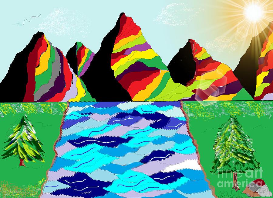 Rainbow Digital Art - Rainbow Mountain by Lewanda Laboy