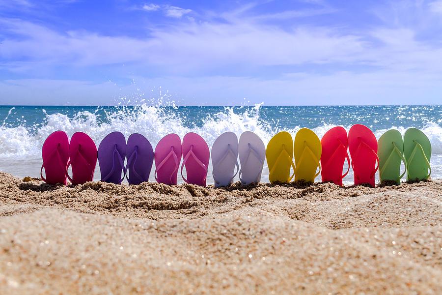 ffd49ed46a2e Rainbow Of Flip Flops On The Beach Photograph by Teri Virbickis