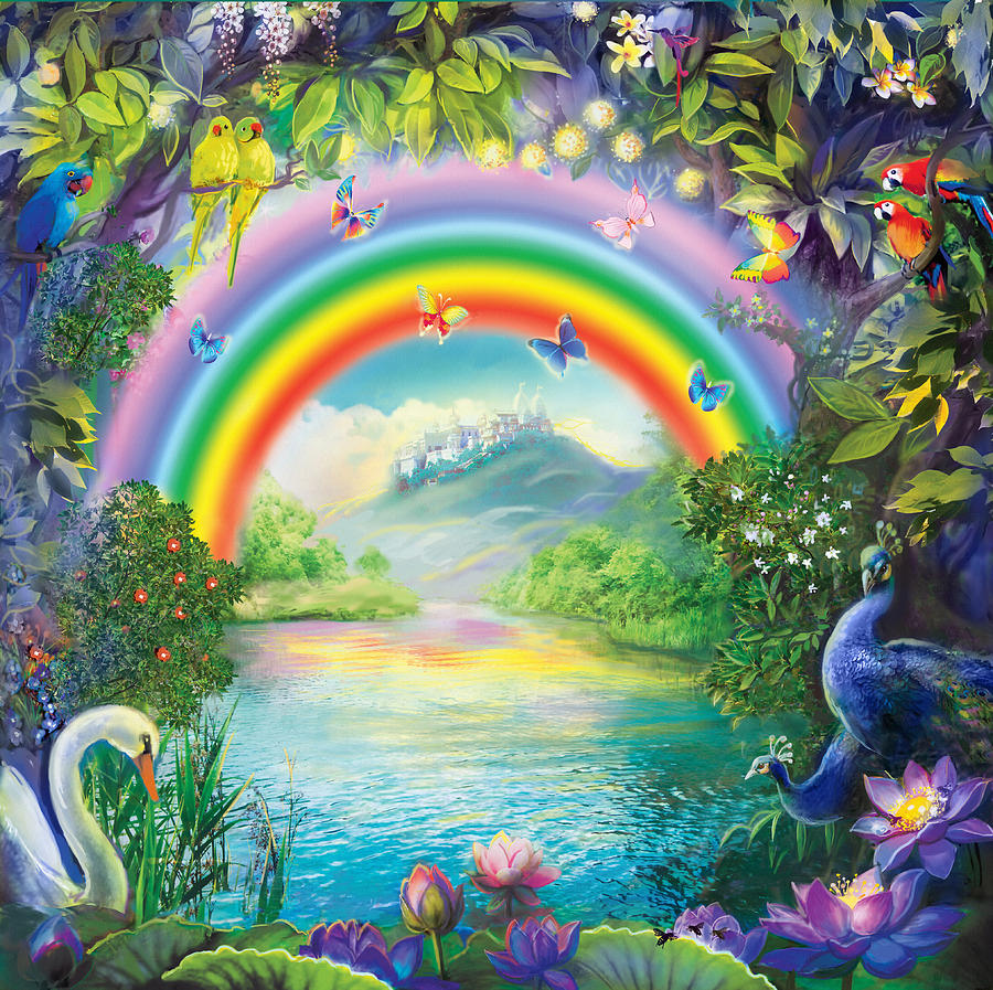 Paradise Painting - Backgraund Rainbow On Varshana  by Lila Shravani