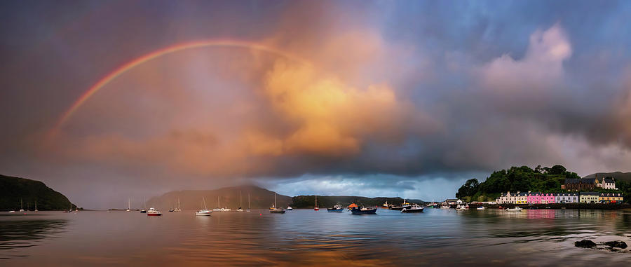 Horizontal Photograph - Rainbow Over Harbor At Sunset, Portree by Panoramic Images