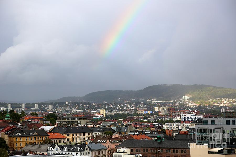 Oslo Photograph - Rainbow Over Oslo by Carol Groenen