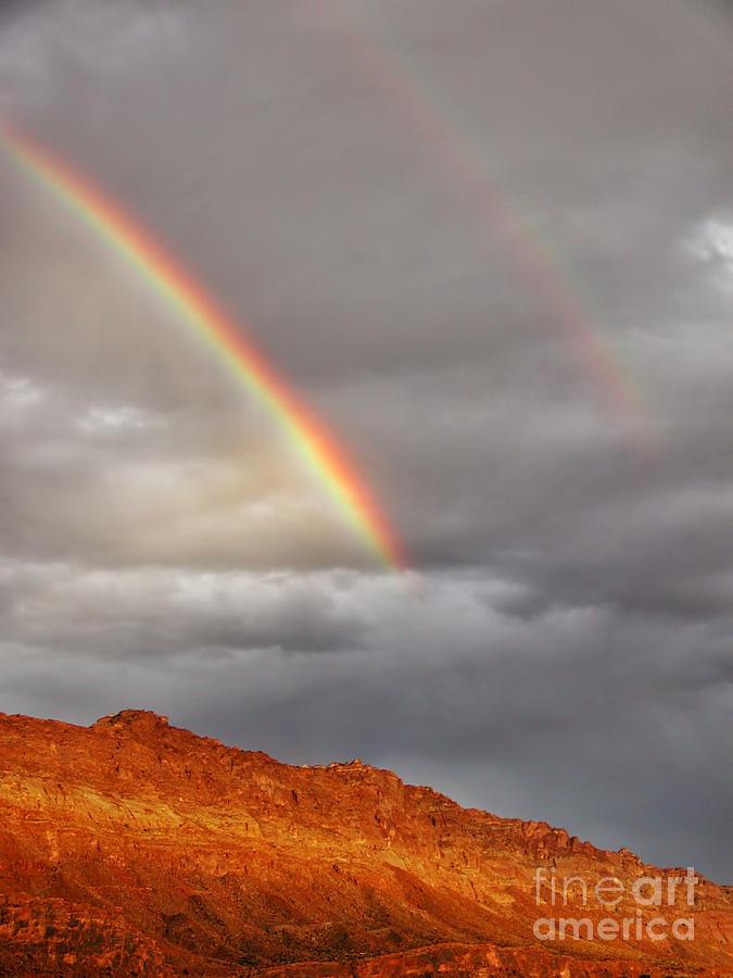 Utah Photograph - Rainbow Over Rocks by Timothy Hacker